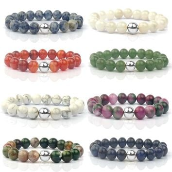 GAGAFEEL Natural Stone Beads Bracelets Women Men Jewelry Semi-precious Red Stripe India Nature Charm Bangles Friends Gifts BB003