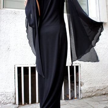 Black Kaftan /Asymmetrical Chiffon Sleeves Dress / Kaftan / Off Shoulder Dress / Chiffon Asymmetrical Sleeves A03028