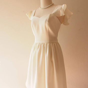 Olivia - White Dress White Formal Dress Bridal Wedding Party Dress Bridesmaid Dress White Sundress Summer Dress Swing Dance Dress