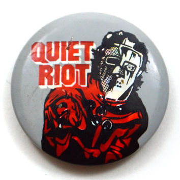 Vintage 80s Quiet Riot Metal Health Small Holographic Shiny Button Pinback Badge Pin