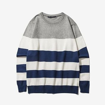 Men Pullover Autumn Casual Sweater O Neck Striped Slim Fit Knitting Sweater