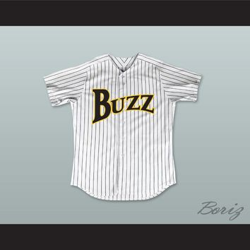 Rube Baker 32 Buzz White Pinstriped Baseball Jersey Major League: Back to the Minors