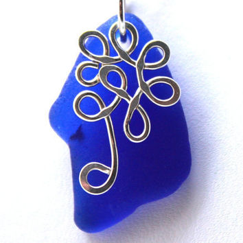 Cobalt Blue Sea Glass Necklace by SeaglassReinvented