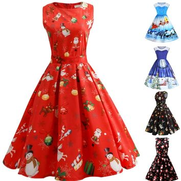 Vintage Women Girls Santa Christmas Dress Sleeveless Xmas Big Swing Retro Dresses JL