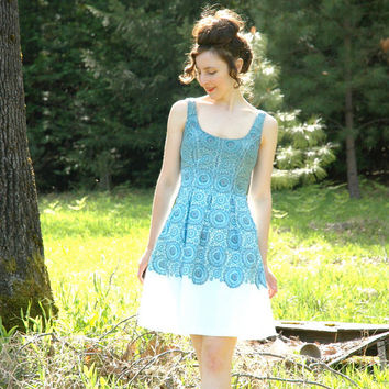 Spring Cotton Dress... Crochet Print... Retro Folk Inspired... Upcycled...  MANDALA (size 4)