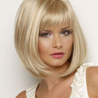 Blonde Heat-resistant Fiber Straight Medium Wig