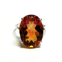"Topaz, mystic topaz ring,statement ring, cocktail ring, red yellow orange,   s 8 ""Cosmo Girl"""