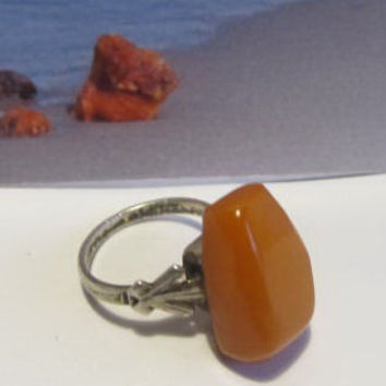 Natural #Antique #Vintage #Baltic #Amber #silver #Ring, 4.5 grams #yellow egg yolk butterscotch #polished opaque free shape for adult