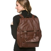 Double Buckle Faux Leather Backpack in Brown