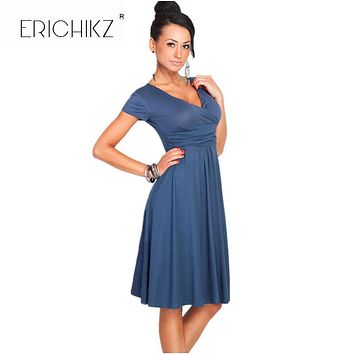 ERICHIKZ New Autumn Women Casual Party Dresses V-Neck Short Sleeve Knee-Length Cotton Draped Solid Loose vestidos for lady