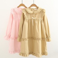 Sweet Pleated Ruffled Peter Pan Collar Long Sleeve Dress