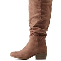 Lt Brown Ruched Contrast-Tab Riding Boots by Charlotte Russe