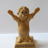 """RUSS BERRIE FIGURE, 1970 W & R Berries, """"I Love You This Much"""" Boy Figurine, resin figure, Valentine's day gift, gift for him,vintage gift"""