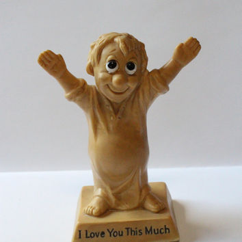 "RUSS BERRIE FIGURE, 1970 W & R Berries, ""I Love You This Much"" Boy Figurine, resin figure, Valentine's day gift, gift for him,vintage gift"