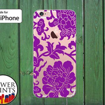 Purple Flower Pattern Ornate Floral Vines Tumblr Cute Clear Rubber Phone Case for iPhone 5/5s and 5c and iPhone 6 and 6 Plus + and iPhone 6s