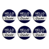 Oscar Hello My Name Is Plastic Resin Button Set of 6