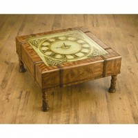 AA Importing Square Clock Coffee Table in Medium Brown - 38681 - Accent Tables - Decor