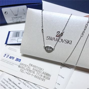 AUGUAUAU S024 Swarovski 2018 New Lucky Devil's Eye Necklace Silver Clavicle Chain Female Necklace