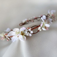white flower hair circlet cherry blossom wedding by thehoneycomb