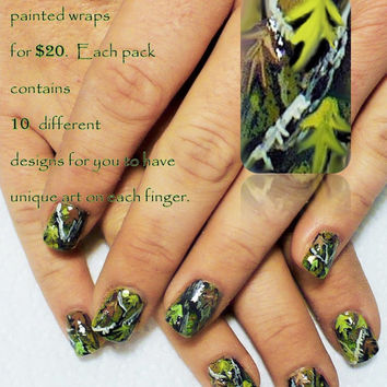 """Set of 40 Natural Camo Hand Painted Nail Wraps from the Freeda Latham """" Signature Collection """""""