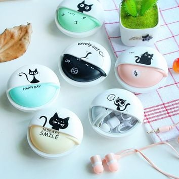 Cute Girls Cat Macarons 3.5mm in-ear Stereo Earphones with Earphone Case for iPhone Xiaomi Girls Kid Child Student for MP3 Gift