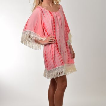 Umgee Coral Tie Dye Dress with Fringe Trim