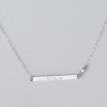 Personalized skinny name bar necklace - personalized jewelry, Sterling silver customized necklace