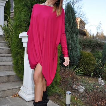 Pink Plus Size Kaftan Dress / Loose Casual Asymmetric Tunic / Long Sleeves Oversize Maternity Gown / Fall Winter Eco Friendly Cotton Top