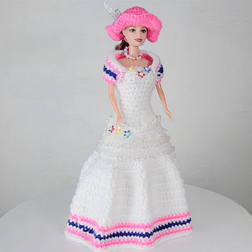 Elegant White Layered Crinolette for barbie doll - Girls gown, barbie toys, hand crochet, barbie accessories
