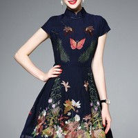 Butterfly and Flower Embroidered Dress