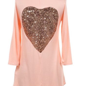 Heart Back Rayon Tunic Top