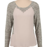 Embellished Neck Chiffon pullover sweater