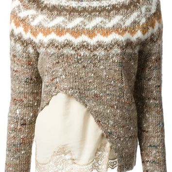 Erika Cavallini Semi Couture layered lace hem sweater