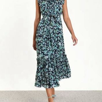 2019 Spring Summer Sleeveless Crew Neck Floral Print Mid-Calf Length Dress Luxury Runway Dresses A122334L4Y3