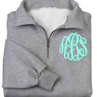 Unisex Quarter Zip Embroidered Monogram Sweatshirt