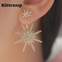Kittenup New Fashion Geometric Luxury Double Star Snowflake Earrings For Women Classic Jewelry Rose Gold Silver Black Color