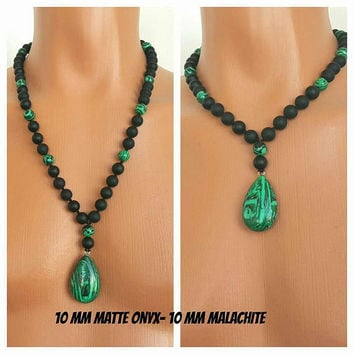 MENS NECKLACE,Matte Onyx-Malachite Necklace, Necklace for Men,Men's Jewelry,Men's Beaded Necklace,Men's Beaded,Long Necklace,10 mm Beads