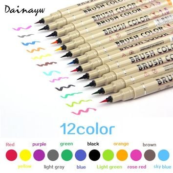 12colors Drawing Artist Soft Brush Pen Copic Sketch Marker For School Children Stationery Watercolor Design Paints Art Supplies