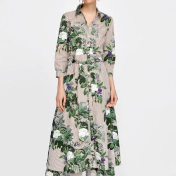 Summer flowers and striped print gown dress
