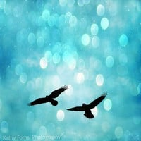 Nature Photography, Fantasy Birds and Bokeh, Dreamy Nature Flying Ravens, Aqua Bokeh Twinkle Sparkling Lights, Aquamarine Teal Blue 8 x 8