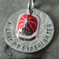 I love My Firefighter with Fire Hat Handstamped Necklace | wirenwhimsy - Jewelry on ArtFire