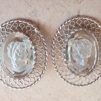 Cameo Earrings Clear Intaglio Whiting and Davis Clips Vintage 032917BT