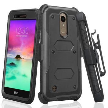 LG K10 (2018) Case, K30, Premier Pro, K10 Plus, K10α, X4 Plus, X410, MS245, Triple Protection 3-1 w/ Built in Screen Protector Heavy Duty Holster Shell Combo Case - Black