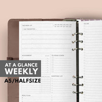 AT A GLANCE WEEKLY Planner, Filofax A5 Insert Printable, Weekly Planner A5 Filofax insert printable, Weekly Planner A5 printable, To do list