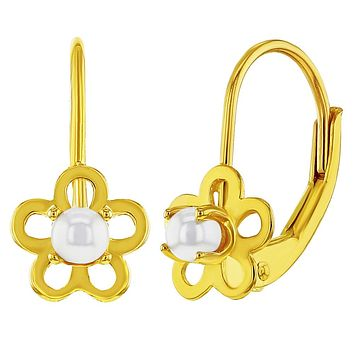 925 Sterling Silver Gold Flashed Simulated Pearl Flower Leverback Earrings Girls