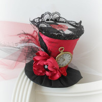 The Queen's Court - Mini Top Hat - Alice In Wonderland Hat - Red Top Hat - Mad Hatter Novelty Hat