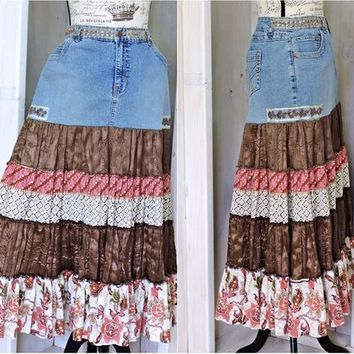 Long Boho skirt / size L / 12 / 14 /  denim maxi skirt /  hippie festival skirt