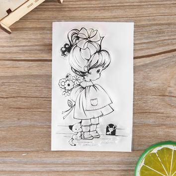 2018 New Lovely Girls And Dog Stamp Clear Rubber Stamp Craft Stamp For Scrapbook Card Making Handmade Gift Letter Decorate DIY