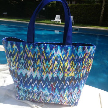 Blue tote bag multicolor zigzag picture, cotton, interfaced and lined