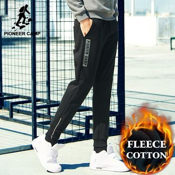 Pioneer Camp New style winter thick sweatpants men brand-clothing letter fleece warm casual pants male quality cotton AWK702323